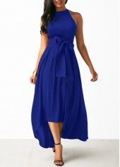 The calming shades of blue dresses blue dresses royal blue belted asymmetric hem dress and cardigan SHFGZXS Cheap Blue Dresses, Royal Blue Dresses, Casual Dresses, High Low Dresses, Trendy Dresses, Long Dresses, Dress With Cardigan, Maxi Dress With Sleeves, Belted Dress