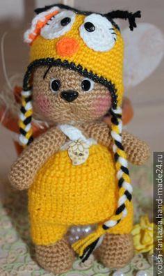 Вязаный мишка в костюмчике пчелки, Мишки, Hand-Made24.ru