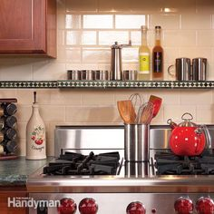 A tile backsplash combined with a new range hood can quickly and dramatically transform a dull kitchen. Learn how to install both in a weekend, along with a custom, over-the-oven shelf for spices and seasonings.