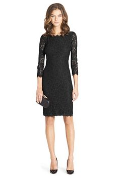 Zarita Long Lace Dress In Black $345.00 The ultimate party dress, the stretch lace Zarita is one of our most popular styles now in a longer length. 3/4 sheer lace sleeves. Exposed back zip. Scalloped lace detail at hem. Silk jersey lining. True to size. Falls to above the knee. Style #: D7586973E00 53 cm / 21 in from natural waist