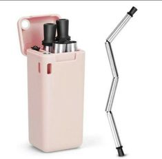 Collapsible Straw Reusable Stainless Steel, Foldable Drinking Straws Keychain Final Folding Premium Food-Grade Portable Set with Hard Case Holder Cleaning Brush for Travel, Household, Outdoor(Pink) Stainless Steel Tubing, Stainless Steel Straws, Metal Straws, Paper Straws, Cleaning Kit, Steel Metal, Brush Cleaner, Drinking, Household