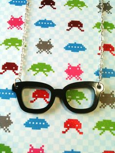 Laser cut acrylic geek glasses necklace by sentimentalsquirrel