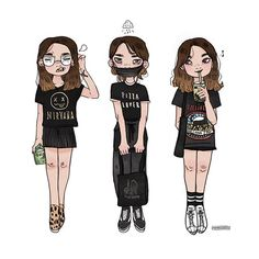 Just your local resident of the 'nothing but black graphic tees in her closet' community PS: shoutout to all you amazing peeps who have super cool ootds cause seriously you real cool • • • #tbt #selfportrait #ootds #blackismyhappycolor #illustration #instaart #artistsoninstagram