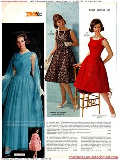 1960s Fashion Women, 60s And 70s Fashion, Retro Fashion, Vintage Fashion, Womens Fashion, Christmas Catalogs, Vintage Style Dresses, Bridal Gowns, Fall Winter