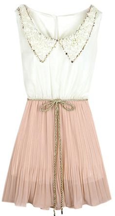 White Pink Sleeveless Drawstring Pleated Chiffon Dress