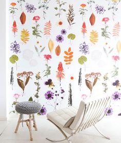 The prettiest botanical wallpaper - Digitaal bloemenpaneel