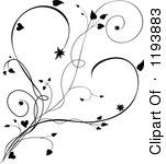 Clipart Of A Black And White Scrolling Vine And Hearts Royalty Free Vector Illustration by dero