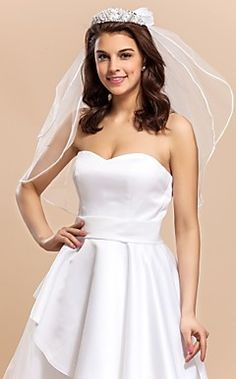 Beautiful 2 Layers Elbow Length Wedding Veil with Floral Hoo... – USD $ 59.99