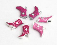 Enameled Red and Pink Boot Charms with Rhinestones  $7.50 @Mary Kerran