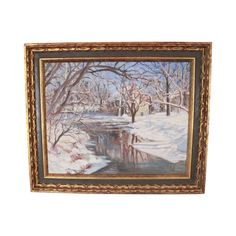 """High Quality Pennsylvania Impressionism Period Frame with Black and Gilt. Signed """"M. Stokes"""" Winter Scene Along River Pennsylvania School Landscape Store Item 23672 School Painting, Vintage Winter, Hobby Farms, Winter Scenes, White Paints, Country Of Origin, Impressionism, Deco, Pennsylvania"""
