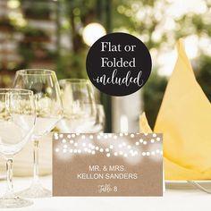 Rustic Kraft Lights Wedding Place Card Template, #weddings #invitation @EtsyMktgTool http://etsy.me/2f0kqKT