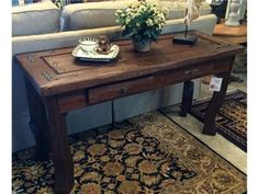 Console Wood Top Table with Drawers
