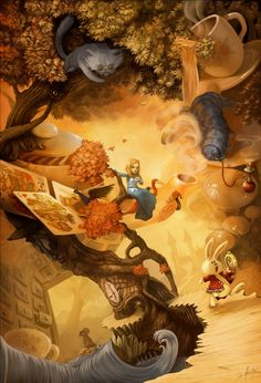 13 superbes illustrations de David Revoy Alice in wonderland love the perspective twists in this one…almost gives you vertigo just trying to figure it out. Sort of like Esher meets Alice. Alice In Wonderland Artwork, Alice In Wonderland Illustrations, Lewis Carroll, Alice Liddell, Chesire Cat, Alice Madness, Ouvrages D'art, Adventures In Wonderland, Fantasy Illustration