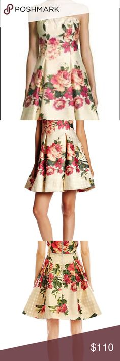 NWT Nicole Miller New NY jacquard fit&flare dress This dress is just beautiful.  Never worn, perfect condition, high quality fabric. Has a slight metallic sheen to it.  Just perfect. Nicole Miller New York Dresses Strapless