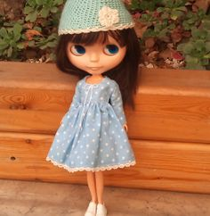SALE Pink polka dot dress for Blythe by RainbowDaisies on Etsy Pink Polka Dots, Blythe Dolls, Daisies, Doll Clothes, Light Blue, Crochet Hats, Rainbow, Dot Dress, Trending Outfits