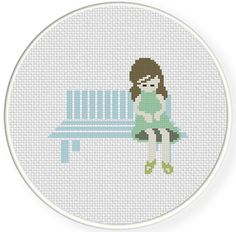 FREE for Feb 16th 2015 Only -  Sitting Girl Cross Stitch Pattern