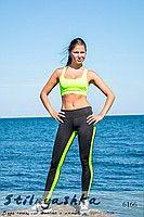 Спортивный костюм для фитнеса салатовый топ с лосинами  6166
