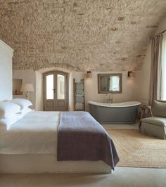 Masseria Petrarolo is a Wedding Venue in Puglia, Italy. See photos and contact Masseria Petrarolo for a tour. Style At Home, Home Bedroom, Master Bedroom, Farmhouse Architecture, Stone Houses, Rustic Chic, Rustic Italian Decor, Beautiful Bedrooms, Beautiful Interiors