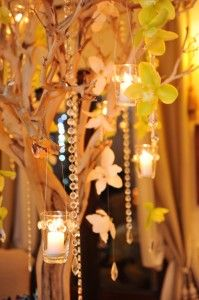 Tree centerpiece with orchids and crystals
