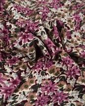 Cotton Needlecord Fabric - Scatter Floral Purple