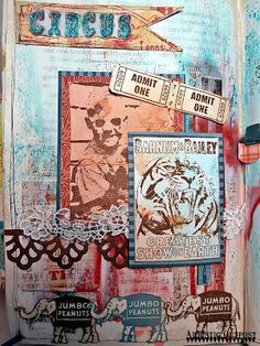 mixed media altered book with  Artistic Outpost stamps by Kate's Scrap Yard