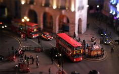 Tilt-shift photography of London's traffic and famous double decker buses. Photo by: Keith Loutit