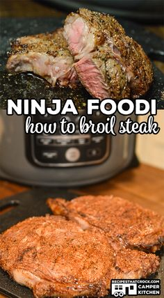 Are you wondering how to cook steak in your Ninja Foodi? We love broiling steak … Are you wondering how to cook steak in your Ninja Foodi? We love broiling steak in the Ninja Foodi! It is the perfect way to make a great steak when you can't grill out! Steak Recipes, Grilling Recipes, Crockpot Recipes, Cooking Recipes, Cooking Videos, Seafood Recipes, Air Fryer Dinner Recipes, Air Fryer Recipes Easy, Ninja Cooking System