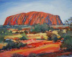 Uluru Art Print featuring the painting Uluru by Richard Rogers Landscape Art, Landscape Paintings, Seed Art, Art Inspiration Drawing, Galaxy Art, Mini Paintings, Aboriginal Art, Australian Artists, Dot Painting