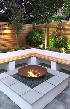 Back Garden Design Modern Backyard, Small Backyard, Small Garden Design, Backyard Decor, Modern Outdoor Fireplace, Back Garden Design, Backyard Seating Area