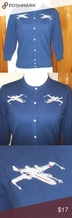 Star Wars X-Wing Her Universe Cardigan Star Wars X-Wing cardigan by Her Universe Size extra small Navy blue 3/4 sleeves - button front 78% cotton, 22% nylon Brand new & never worn smoking home Star Wars Sweaters Cardigans