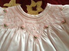 Hand Smocked Pink Bishop Dress Newborn 3mo by SmockingByGinaBug