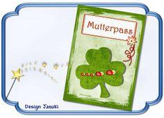 Mutterpass Kleeblatt grün rot von Jasuki auf DaWanda.com