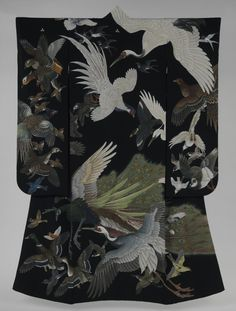 Kimono with Birds in Flight, Japan, Shōwa period (1926–89), 1942 Dye-and pigment-patterned plain-weave silk crepe (chirimen) Overall: 76 7/8 x 49 3/8 in. (195.3 x 125.4 cm) Gift of Harumi Takanashi and Akemi Ota, in memory of their mother, Yoshiko Hiroumi Shima, 2007 (2007.44.1)