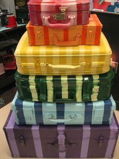 painted vintage luggage