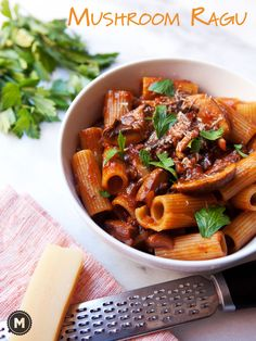 A rich, savory, and completely vegetarian ragu made with a ton of various mushrooms and slow simmered in a rich tomato sauce. A perfect fall pasta dish from The Kitchn Cookbook. Pasta Sauces, Pasta Dishes, Vegetarian Main Dishes, Vegetarian Recipes, Chicken Wing Recipes, Good Enough To Eat, How To Cook Pasta, Tomato Sauce, Fungi