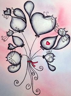 Tableau aquarelle unique signé Celycat : Bouquet de 6 Celycats sur fond rose et bleu : Peintures par celycats