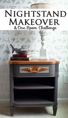 Mid Century Modern Furniture Nightstand Makeover and Week 3 of the One Room Challenge