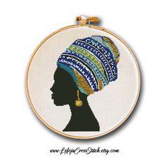 Easy Cross, Simple Cross Stitch, Modern Cross Stitch Patterns, Cross Stitch Designs, Black And White Printer, Africa Art, Woman Silhouette, Modern Boho, African Women