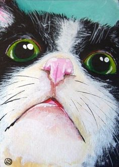 ACEO Print Acrylic Fine Art animal pet illustration green big eyes cat kitty #IllustrationArt