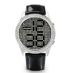 Click Image Above To Buy: Phosphor Womens Swarovski Crystal Appear Stainless Watch - Black Leather Strap - Black Dial - Gents Watches, Cool Watches, Watches For Men, Wrist Watches, Black Crystals, Swarovski Crystals, Skeleton Watches, Gadgets, Digital Watch