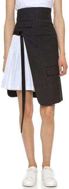 DKNY Pinstripe Wrap Skirt with Pleating