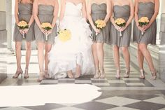 love this photo - yellow, grey, and that fluffy white dress!  Perfect combo.