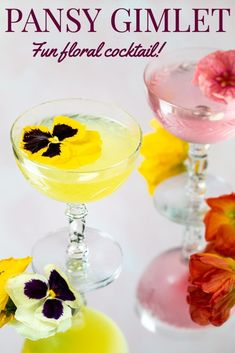 This Pansy Gimlet is a fun floral cocktail!  Use edible pansy flowers to make a simple syrup and then you'll have this gorgeous (and so delicious) bight and cheerful yellow cocktail.  This floral gin cocktail is great anytime, but especially nice when you want a pretty cocktail - like Mother's Day or an Easter brunch! Easy Gin Cocktails, Classic Gin Cocktails, Gin Cocktail Recipes, Drinks Alcohol Recipes, Gin Lemon, Milkshake Recipes, Easter Brunch, Refreshing Drinks, Simple Syrup