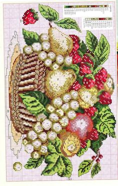 Flower cross stitch charts free 16 From 58 Flower Cross Stitch Charts Free Cross Stitch Fruit, Cross Stitch Kitchen, Cute Cross Stitch, Cross Stitch Flowers, Cross Stitch Charts, Cross Stitch Designs, Cross Stitch Patterns, Cross Stitching, Cross Stitch Embroidery
