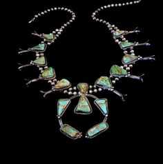 222g Antique Vintage Navajo Sterling Silver Squash Blossom w Lovely Old Royston Turquoise Stones! Primitive and Rustic! Fabulous Piece!