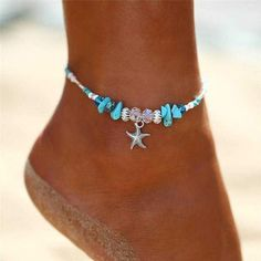 Diy Jewelry Boho Crystal Starfish Anklet Bracelet - Boho Multi 3 piece Anklet Set Specifications: Easy to adjust pull string design and doesn't bother you to wear, super cute! Handmade weave for hand or ankle jewelry with sea wave decor,Turquoise Blue Beach Jewelry, Boho Jewelry, Handmade Jewelry, Jewelry Design, Silver Jewelry, Jewelry Ideas, Silver Ring, Gold Rings, Prom Jewelry