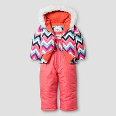 ab595a8ae Baby Girls' Stevies Zig Zag Print 2-Piece Jacket and Snow Bib Overalls Set