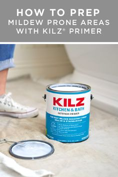 You've picked out the perfect paint color. Now it's time to prep your walls to protect your brand new paint job with KILZⓇ KITCHEN & BATH Interior Primer. Before you even start painting, add a coat of primer to protect your home against mildew damage, staining, previous colors, and more. Click below to learn how to prep mildew-prone areas like a pro.