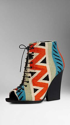 Tapestry Peep-Toe Ankle Boots