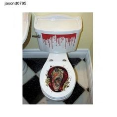Halloween props Toilet Seat Grabber Decoration - scary stickers free shipping